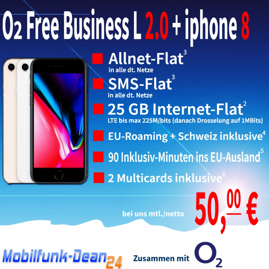 O2 Free Business L 2.0 + iphone 8 nur 50,00€* mtl.