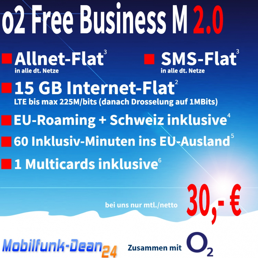 O2 Free Business M 2.0 ab nur 30,00€*
