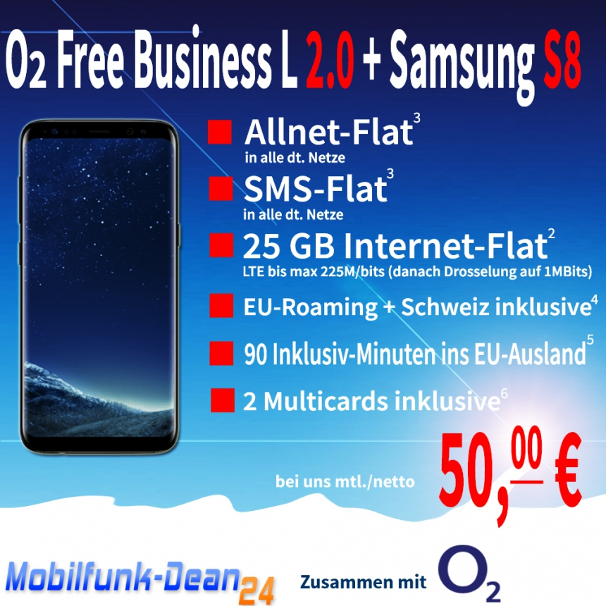 O2 Free Business L 2.0 + Samsung Galaxy S8 nur 50,00€* mtl.