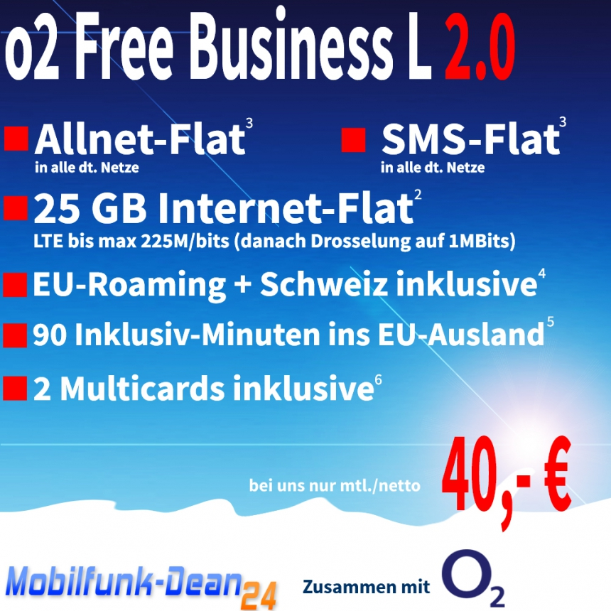 O2 Free Business L 2.0 ab nur 40,00€*