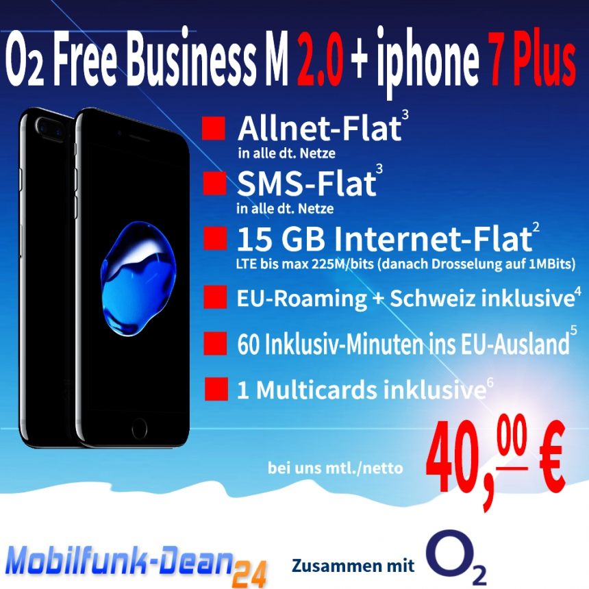 O2 Free Business M 2.0 + iphone 7 Plus nur 40,00€* mtl.