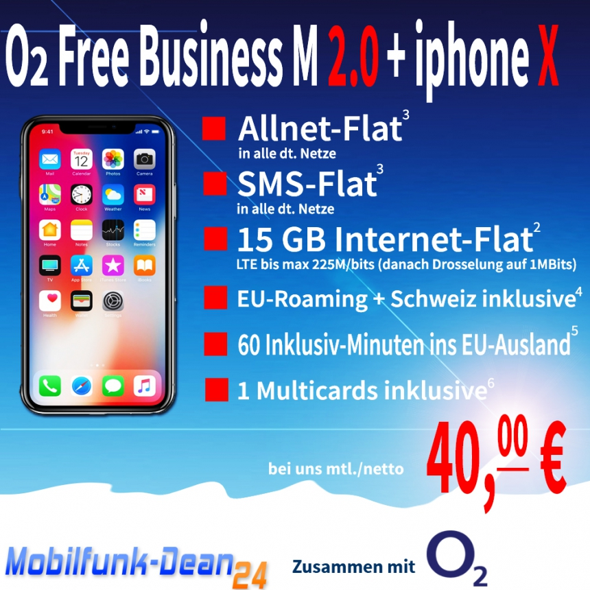 O2 Free Business M 2.0 + iphone X nur 40,00€* mtl.