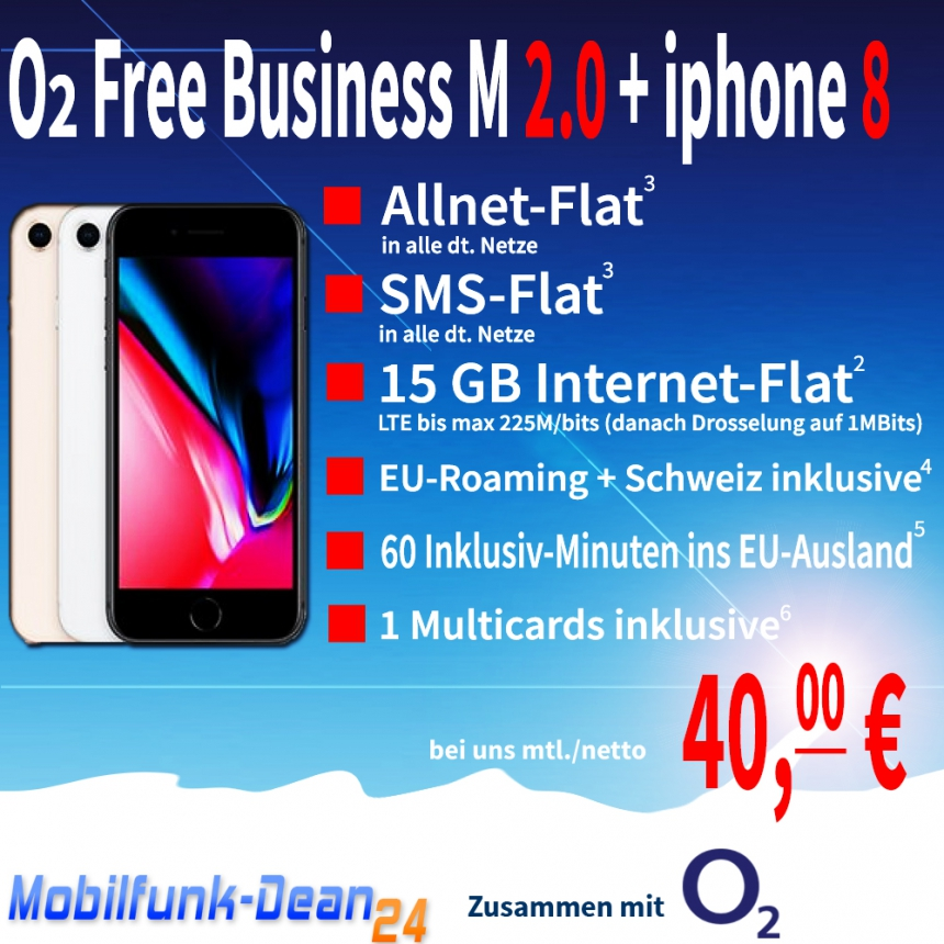 O2 Free Business M 2.0 + iphone 8 nur 40,00€* mtl.