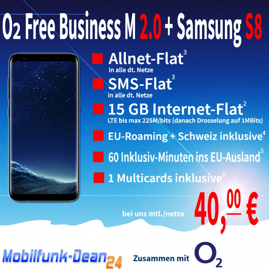 O2 Free Business M 2.0 + Samsung Galaxy S8 nur 40,00€* mtl.