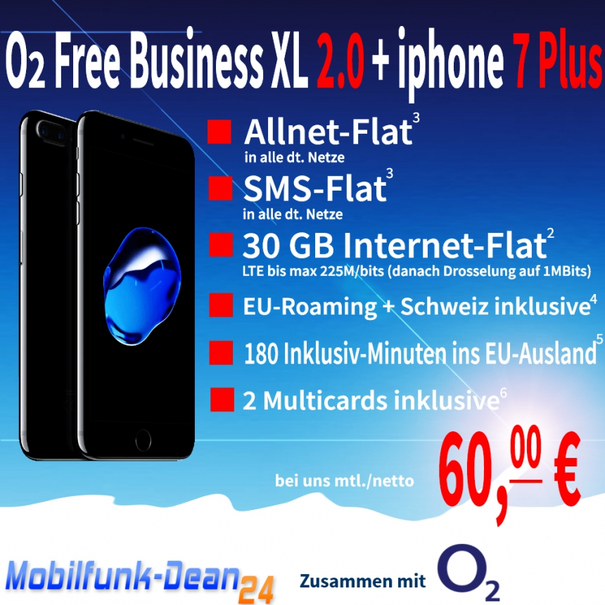 O2 Free Business X2.0 + iphone 7 Plus 60,00€* mtl.
