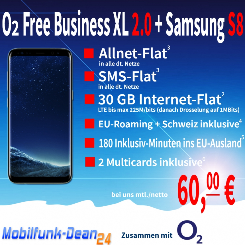 O2 Free Business XL 2.0 + Samsung Galaxy S8 nur 60,00€* mtl.