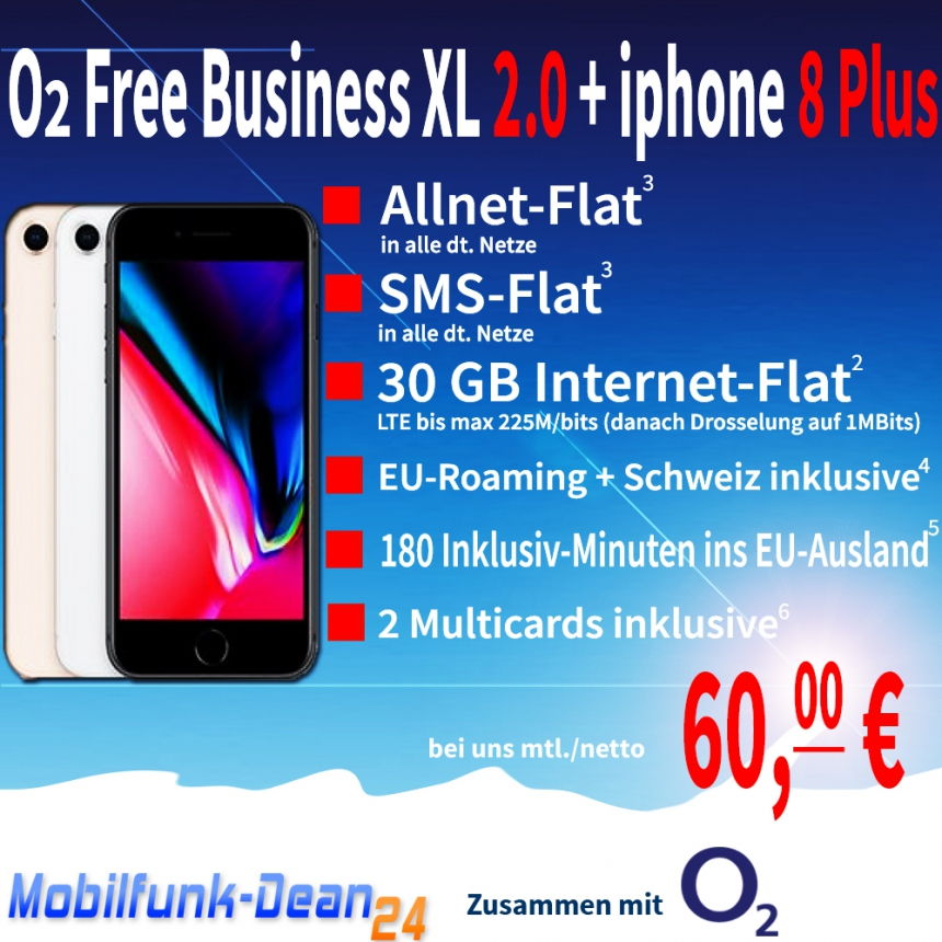 O2 Free Business XL 2.0 + iphone 8 Plus mur 60,00€* mtl.