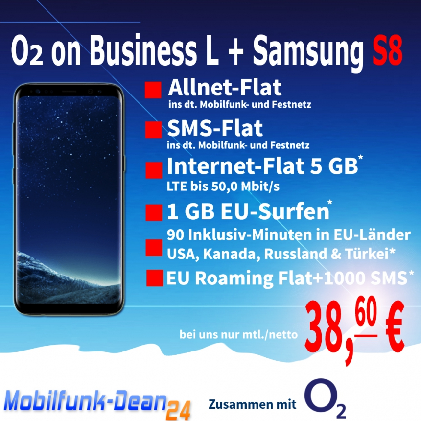 O2 on Business L + Samsung Galaxy S8 Allnet Flat 38,60€* mtl.