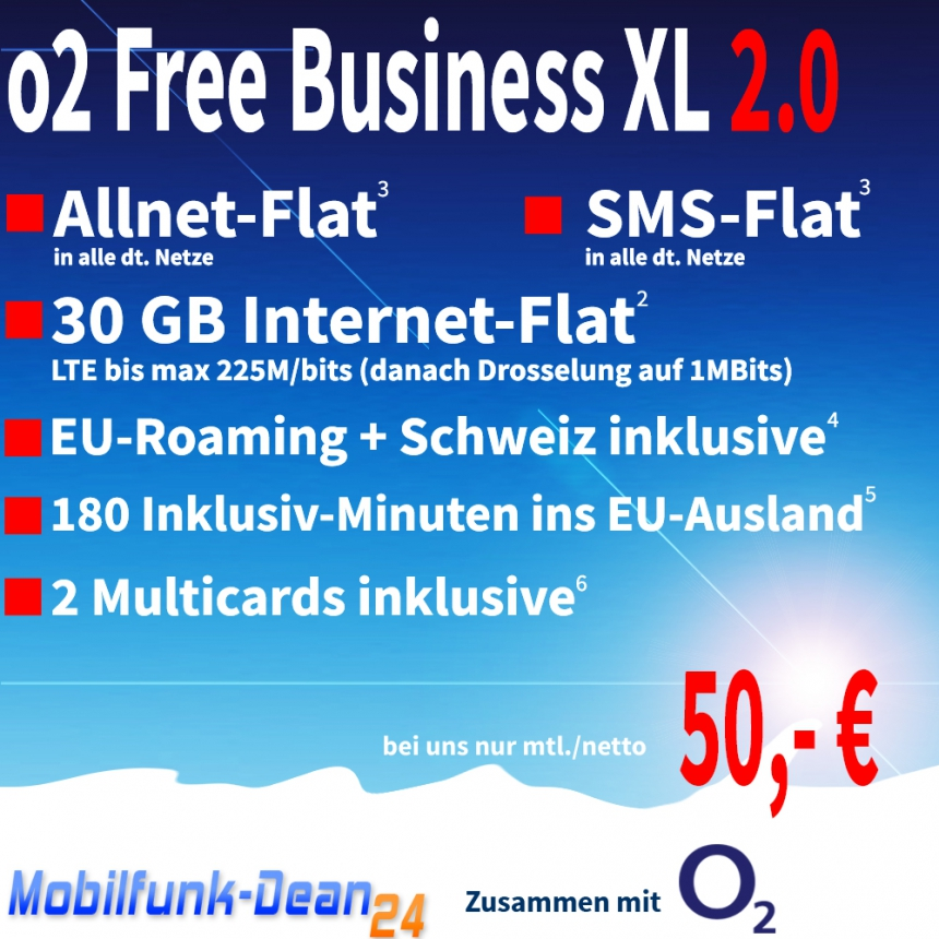 O2 Free Business XL 2.0 ab nur 50,00€*